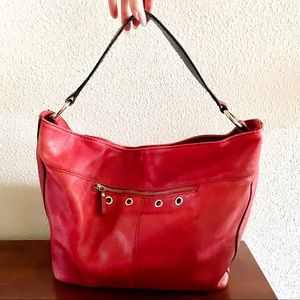 Alicia Klein red leather hobo tote